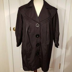 Kensie shiny black mod style 3/4 sleeve coat sz 8